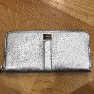 Zip Around silver Cole Haan wallet